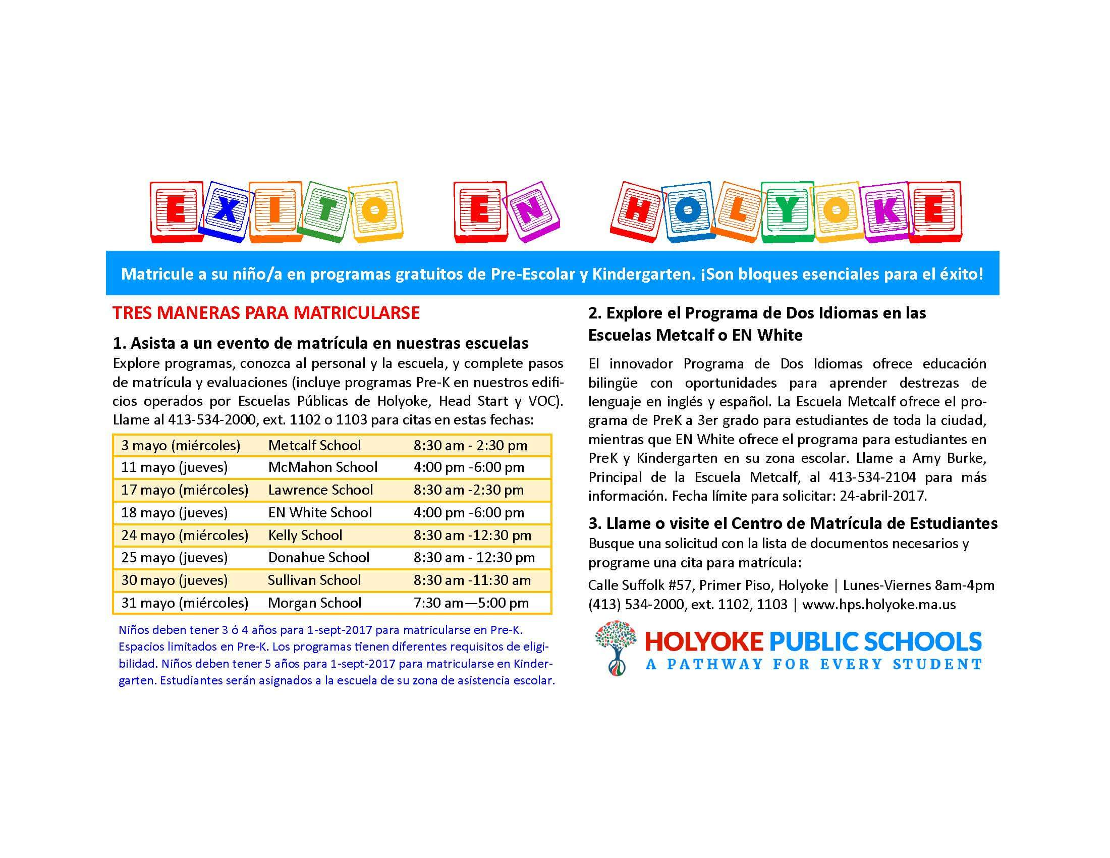 Pre-K and K registration Ad Spanish