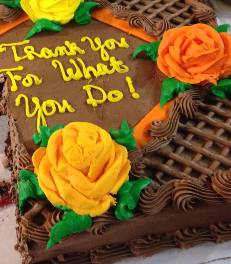 Staff Appreciation Chocolate Cake with Yellow frosted words message