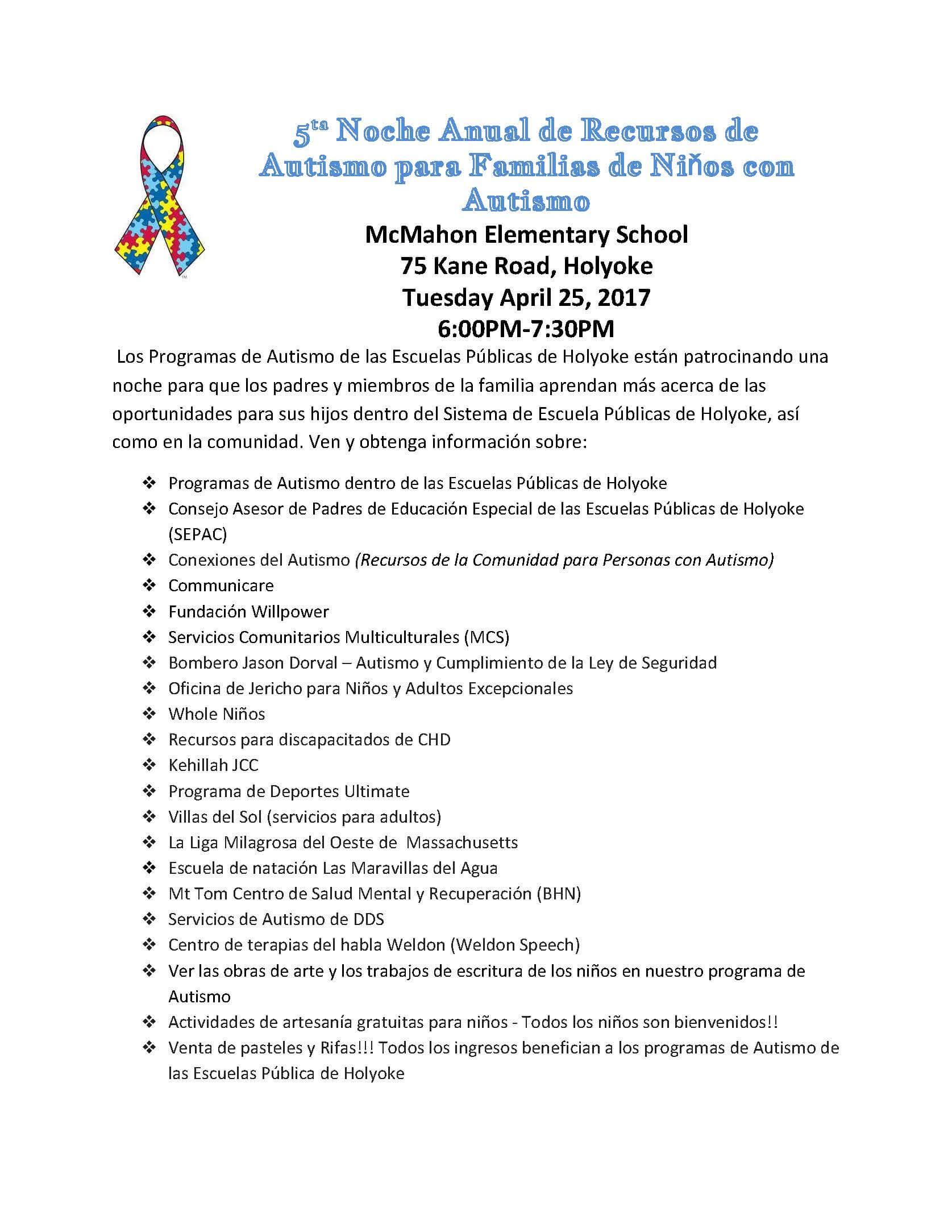 autism resource night spanish