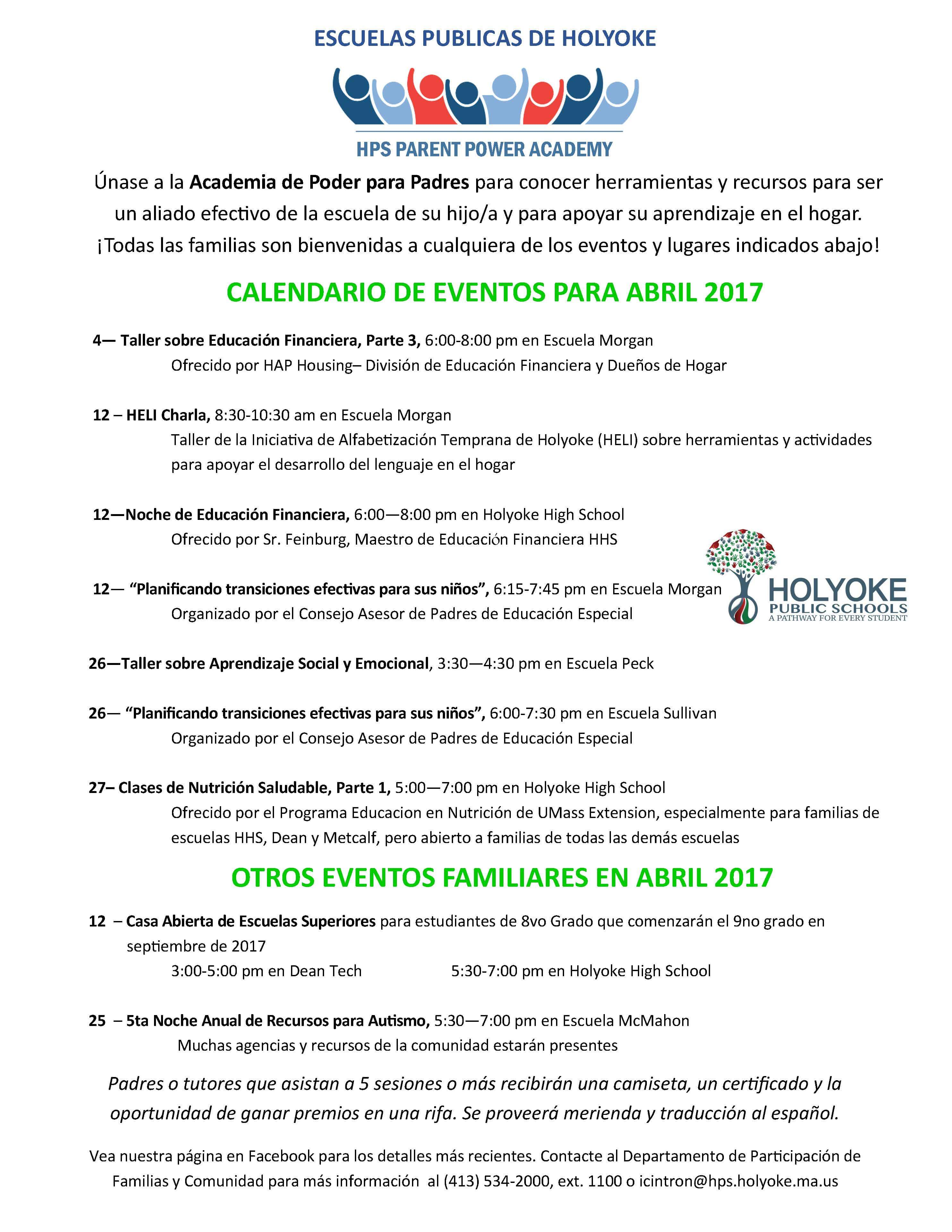 April family events 2