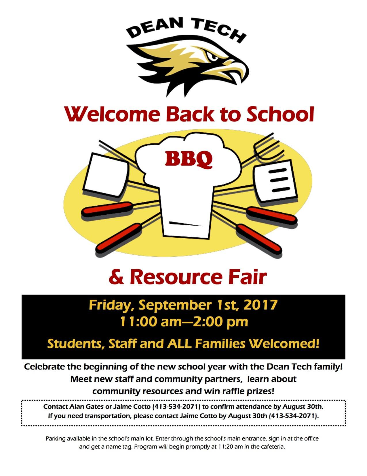 Back to School BBQ and Resource Fair Sept. 1st