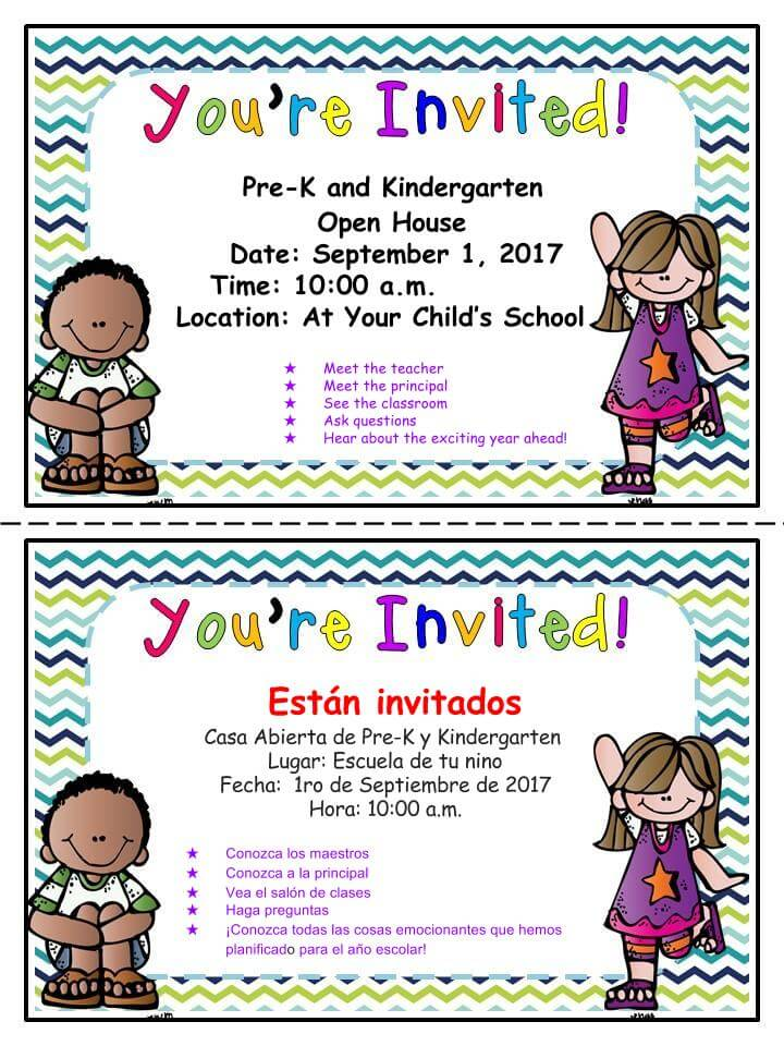 PreK and Kindergarten Open House Sept. 1st