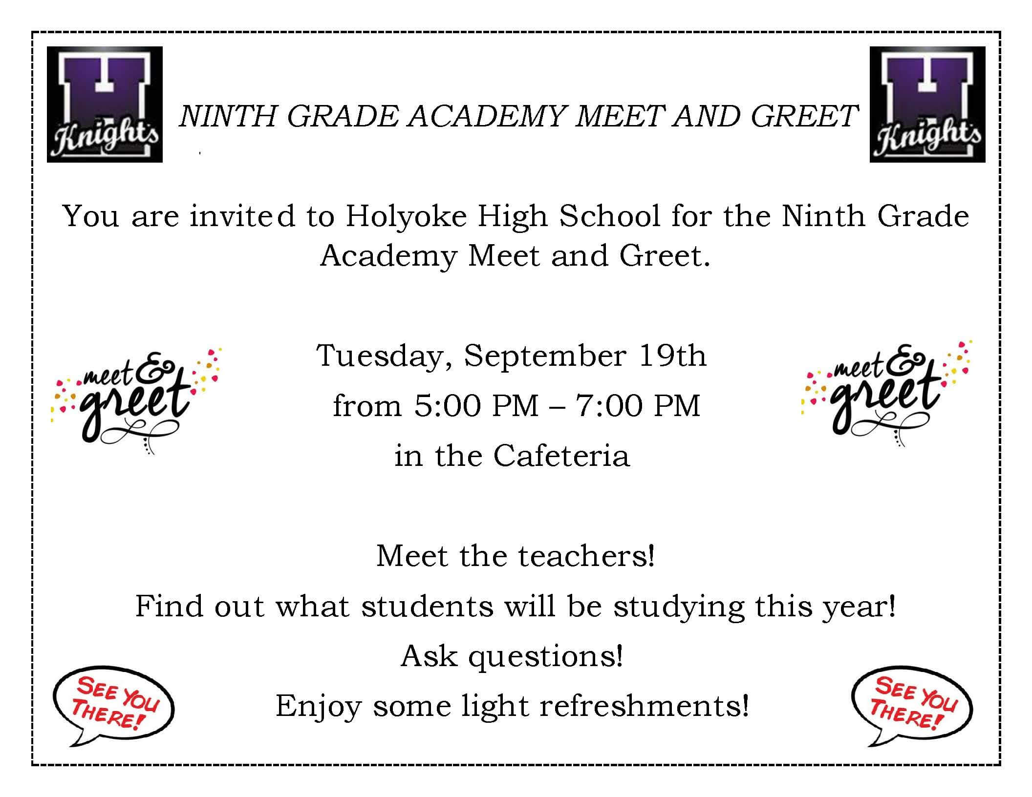 9th grade academy meet and greet english