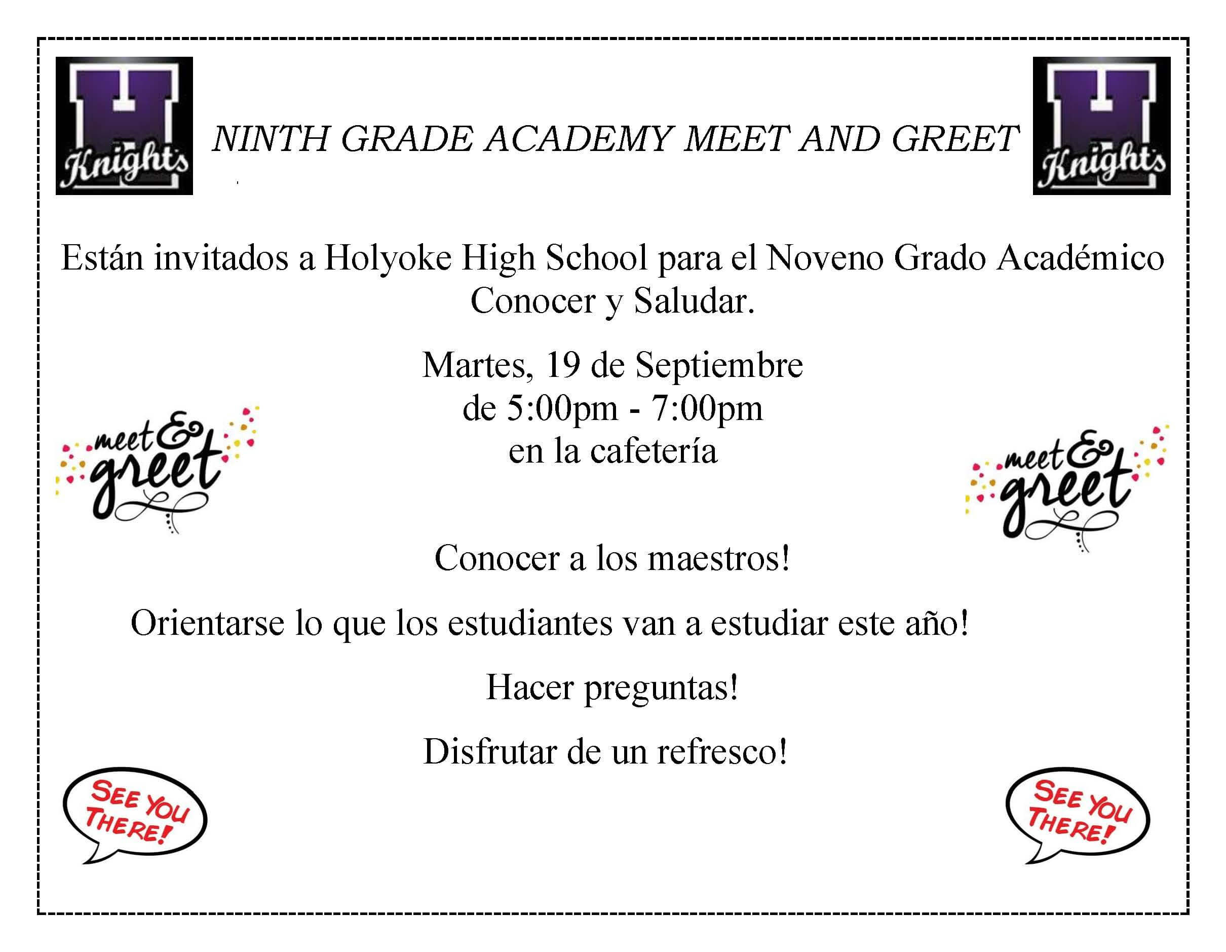 Ninth grade academy meet and greet tuesday september 19th from 5 9th grade academy meet and greet spanish kristyandbryce Image collections