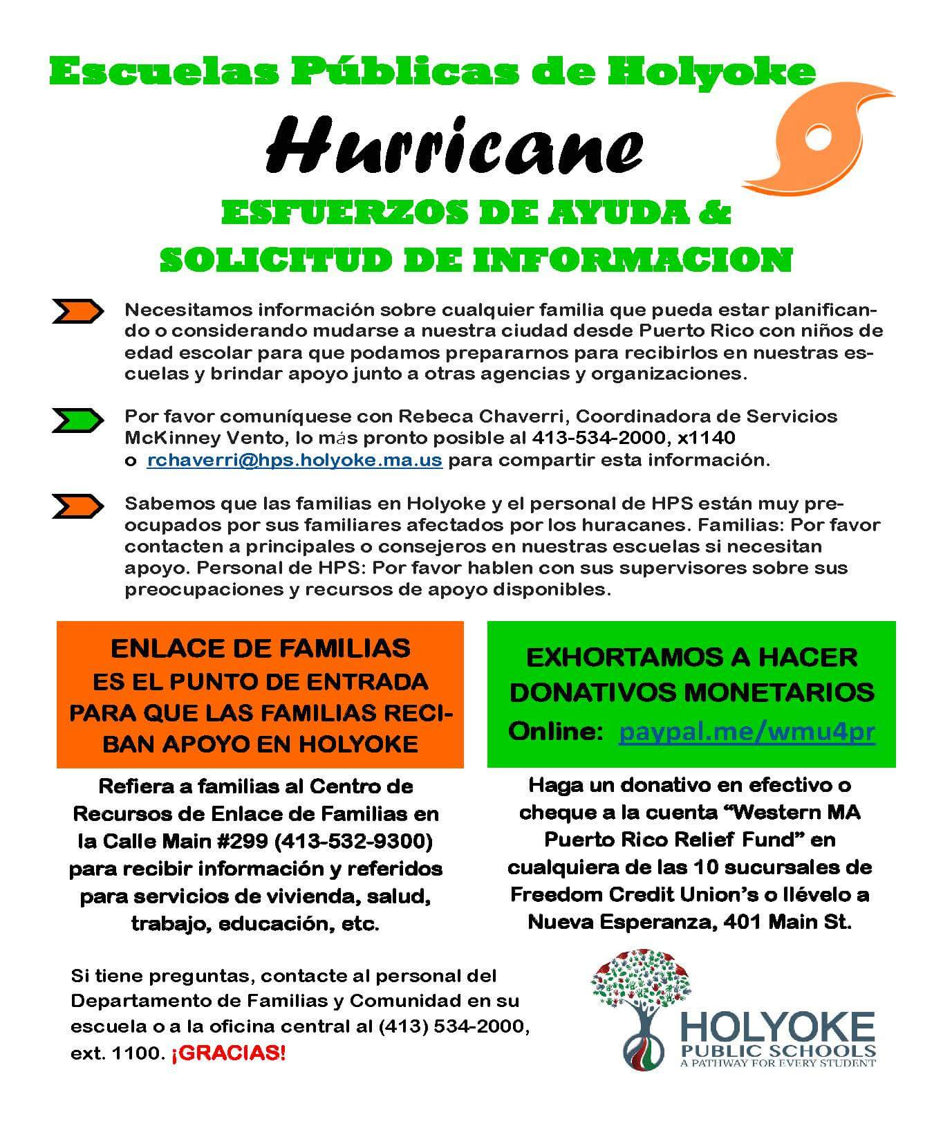 Hurricane Request for Information spanish