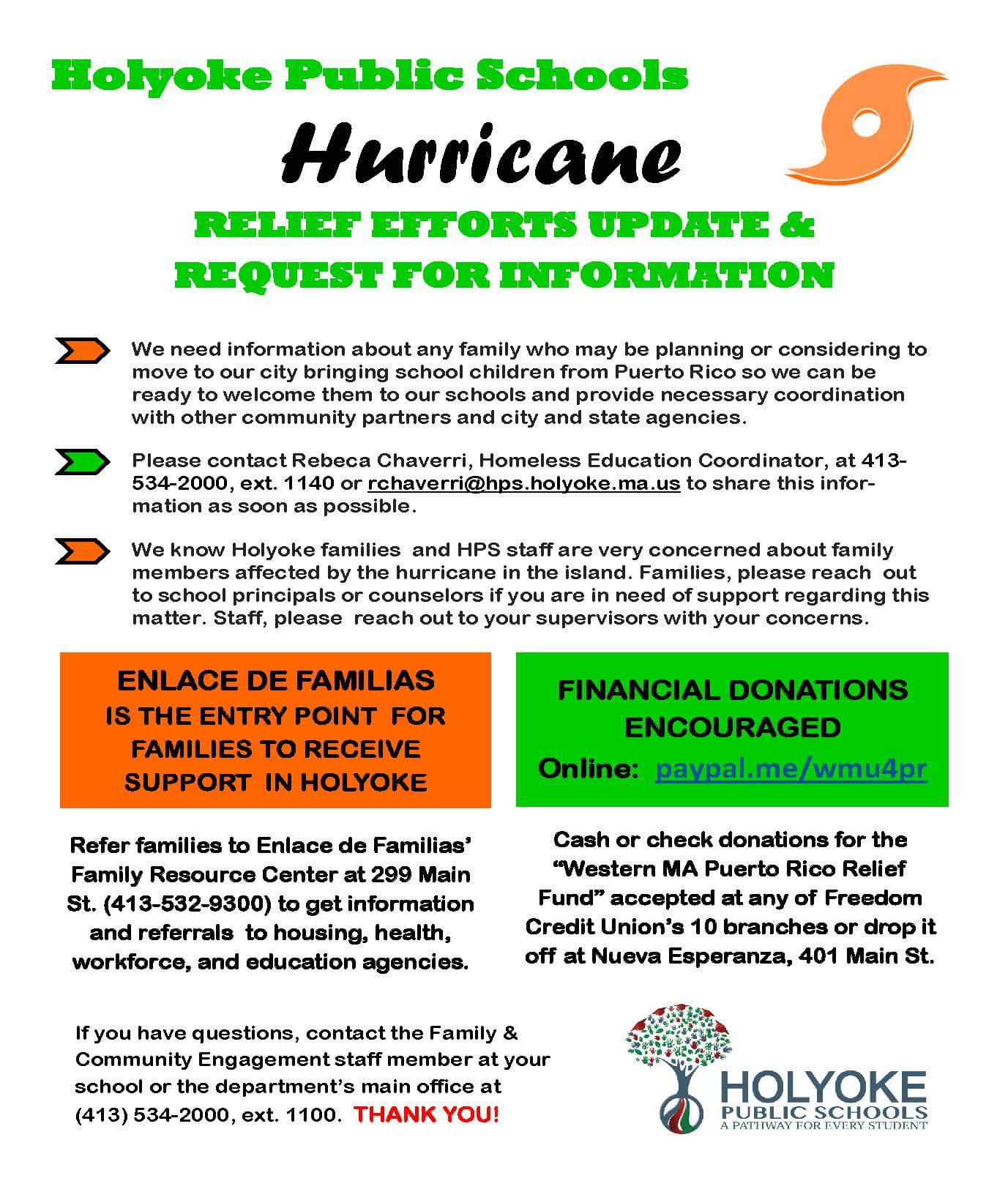 Hurricanes Relief Efforts Update And Request For