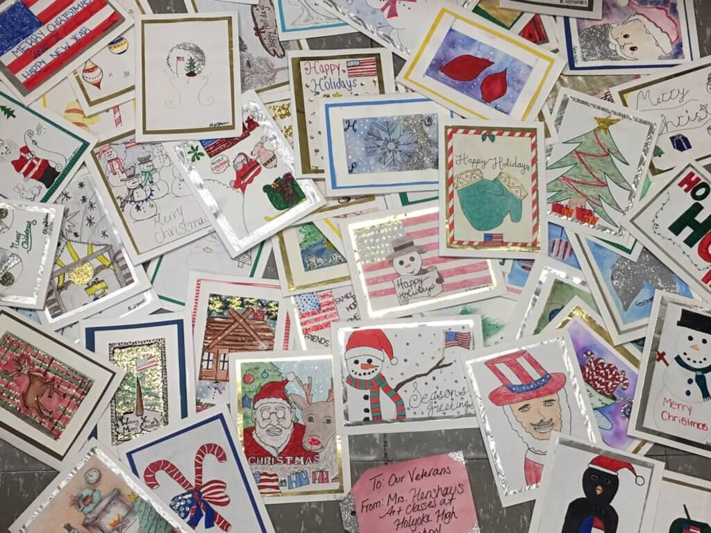Cards for residents of Holyoke Soldiers Home made by Mrs. Henshaw's students