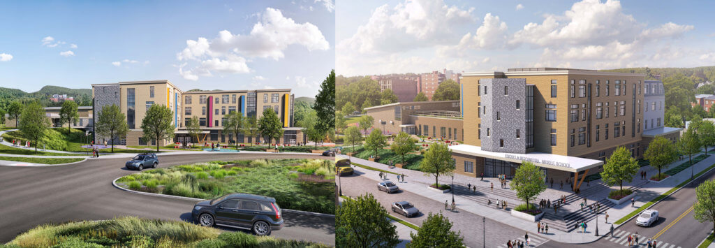 Proposed new middle school buildings side by side