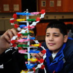 Middle school male student at Stem Academy working on a DNA project