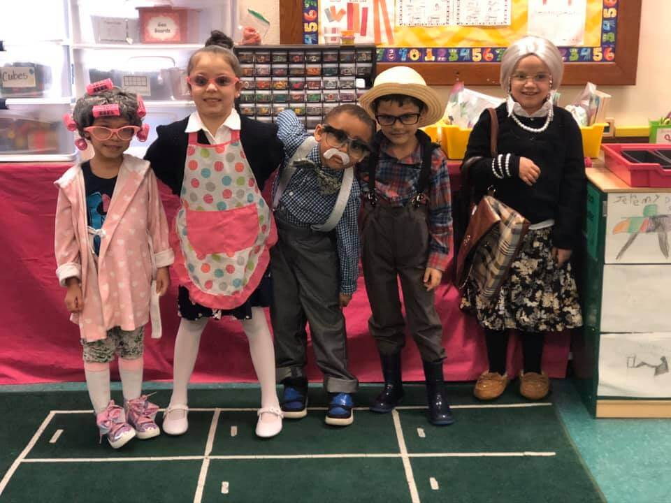 On their 100th day of school students dressed as 100-year-old's