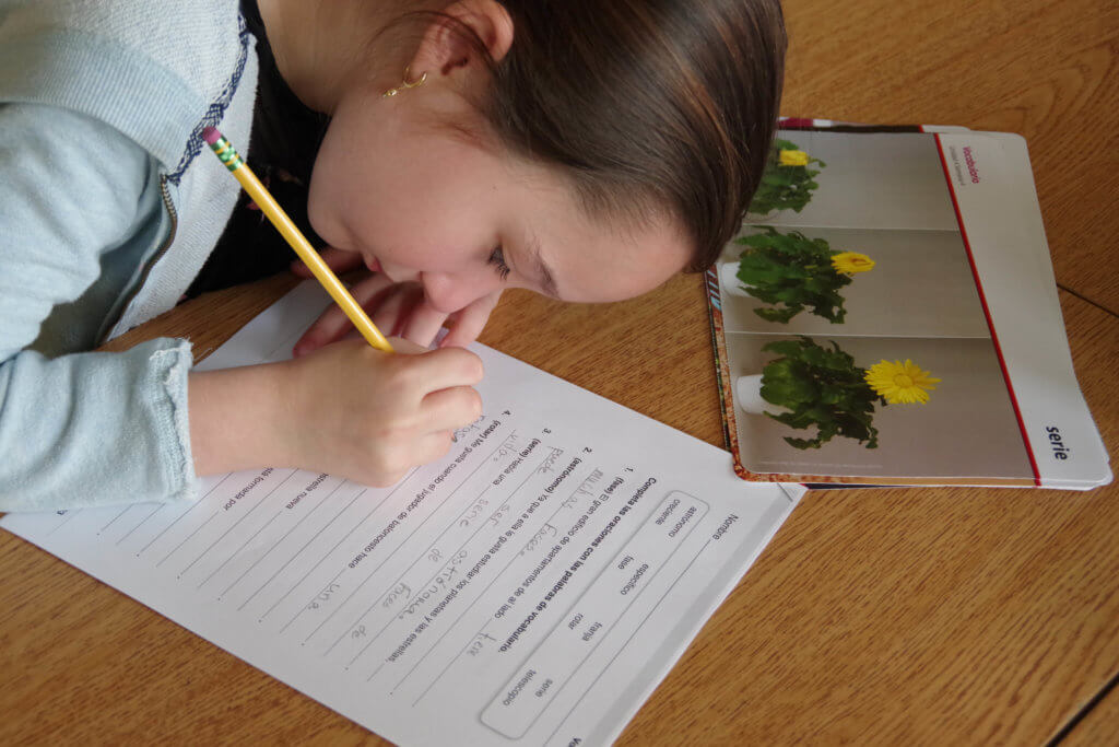 girl holding a pencil completing an assignment at her desk