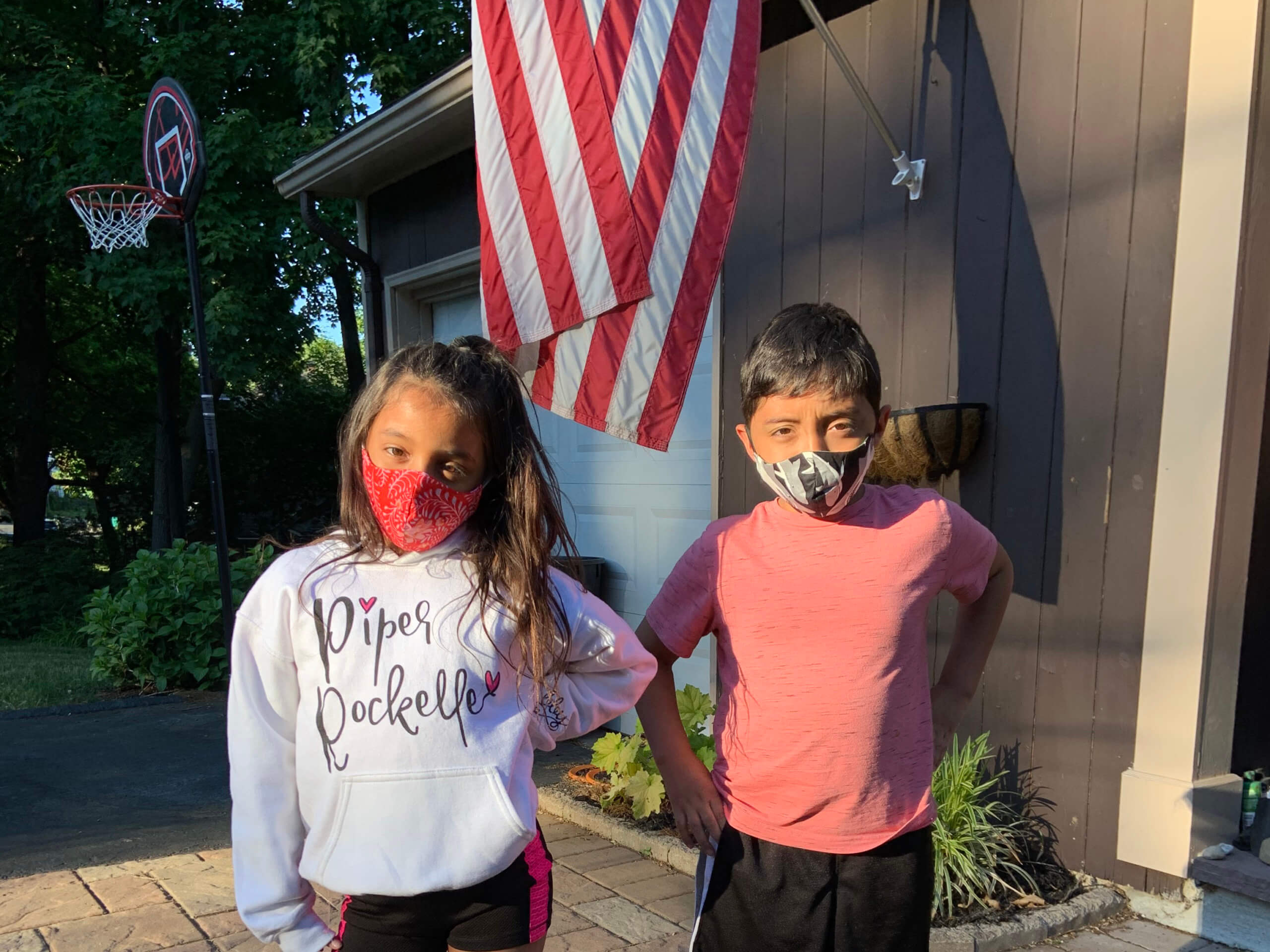 Stefany Garcia's Children wearing their masks.